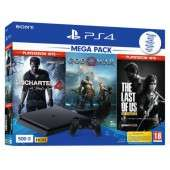 Pack Sony PS4 Slim (500 Go) - God of War + The Last of Us: Remastered + PES 209 + Uncharted 4: A Thief's End