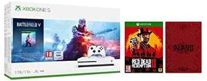 Pack Console Microsoft Xbox One S 1To Battlefield V + Red Dead Redemption 2 avec SteelBook
