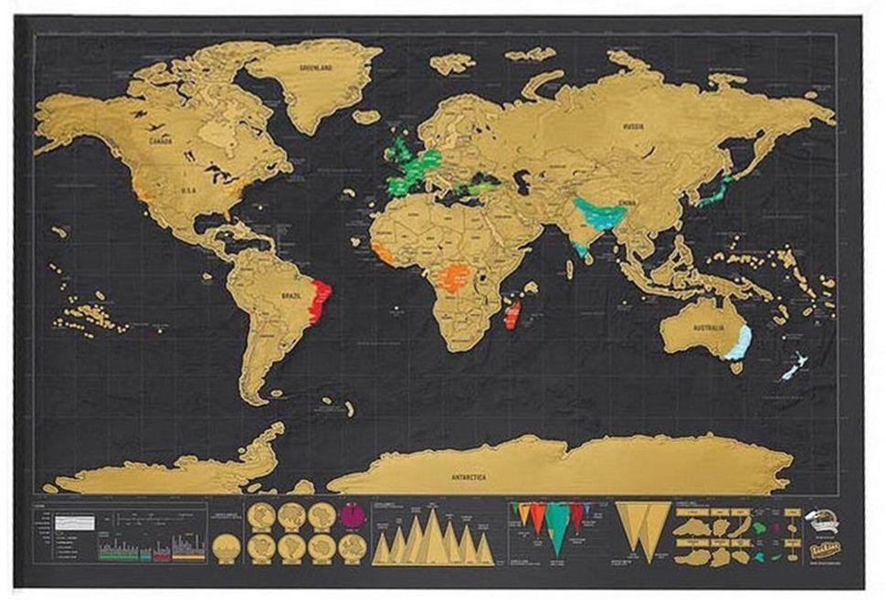 Sélection de cartes du monde - Ex: Carte du monde à gratter 42 X 30 cm