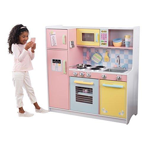 Jeu d'imitation incluant accessoires et téléphone KidKraft - Cuisine enfant en bois Large Pastel (53181)