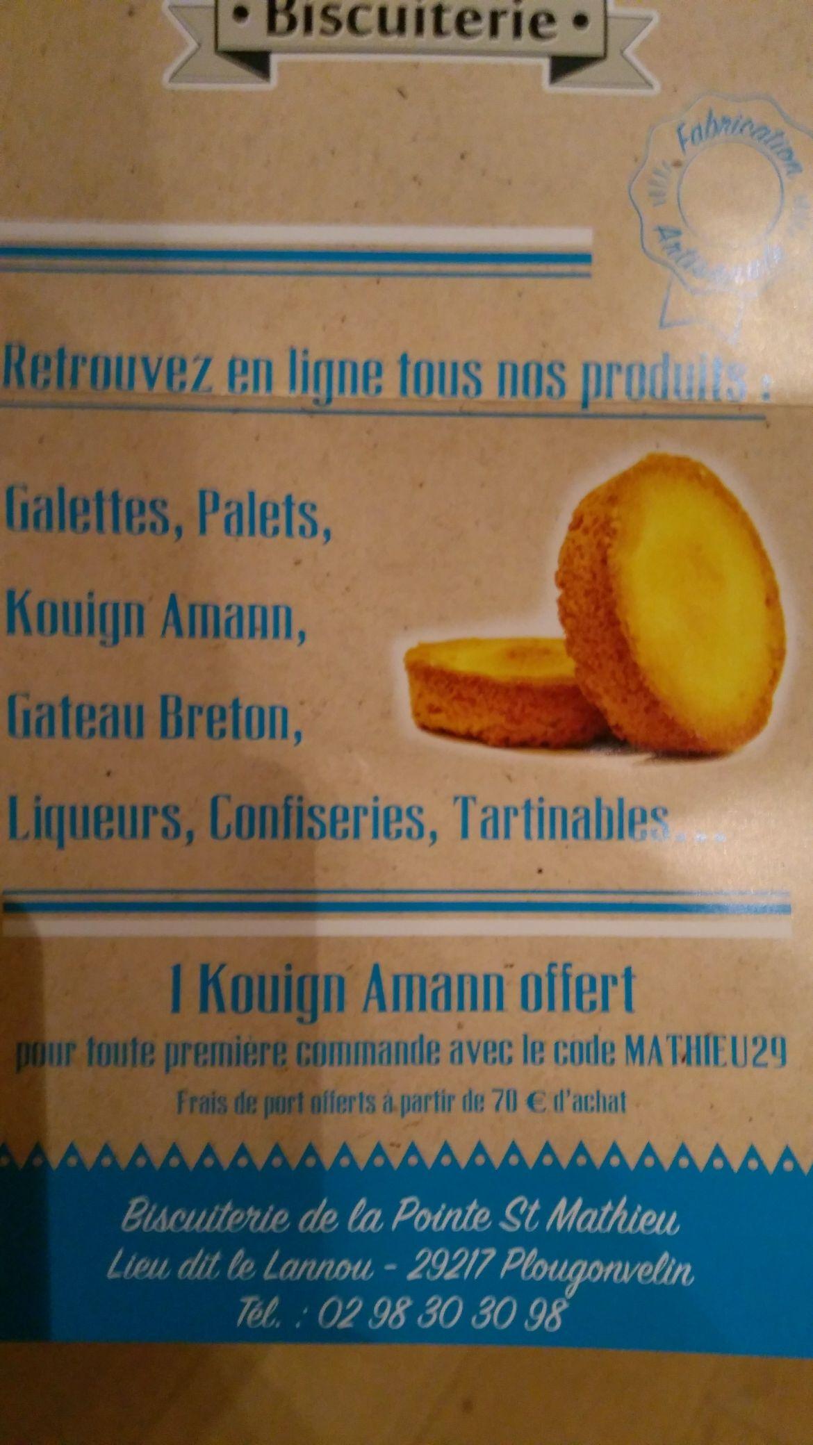 Un kouign aman offert pour toute première commande à partir de 20€ (biscuiteriedesaintmathieu.com)