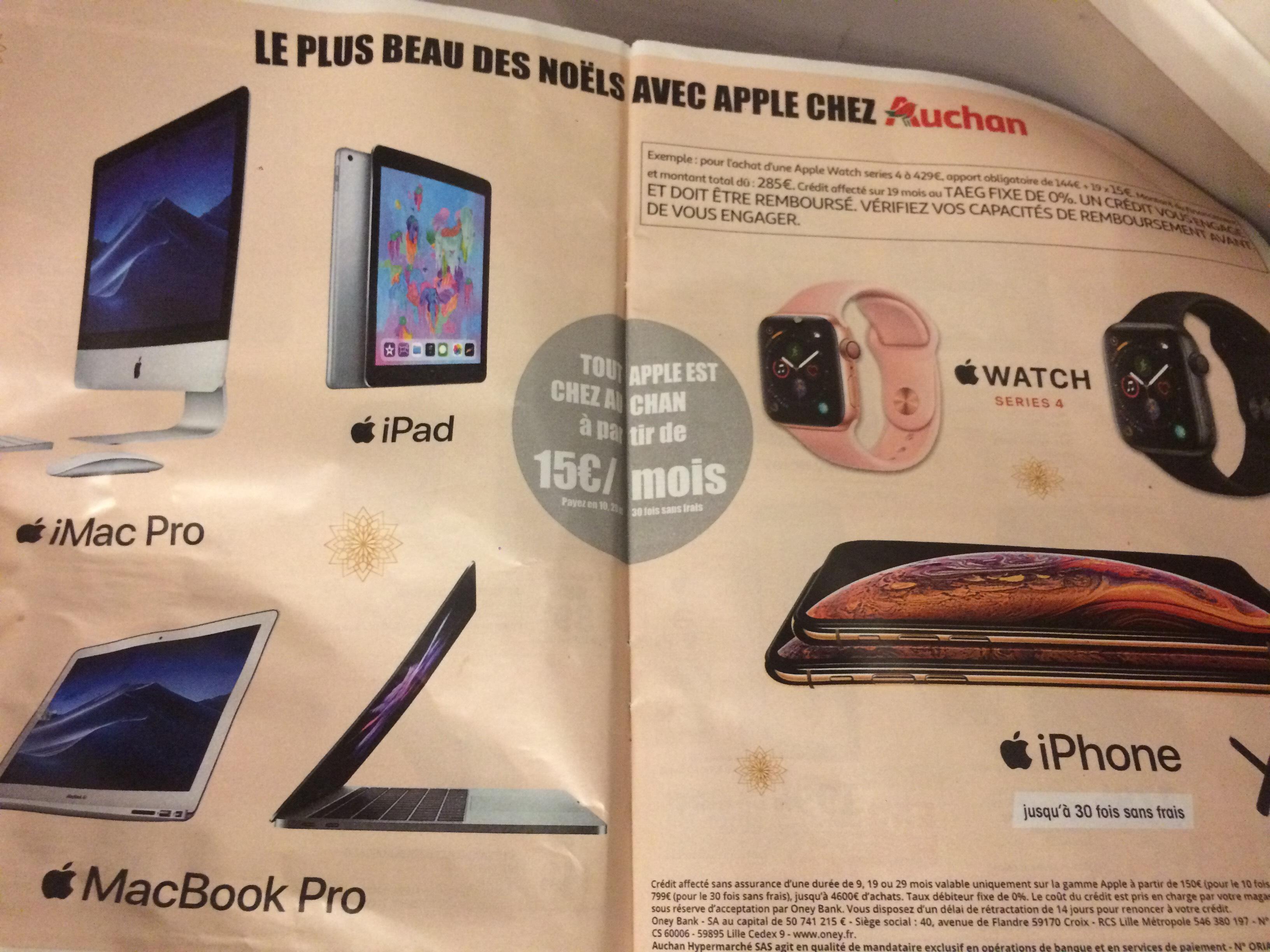Paiement Jusqu'à 30x sans frais pour les produits Apple