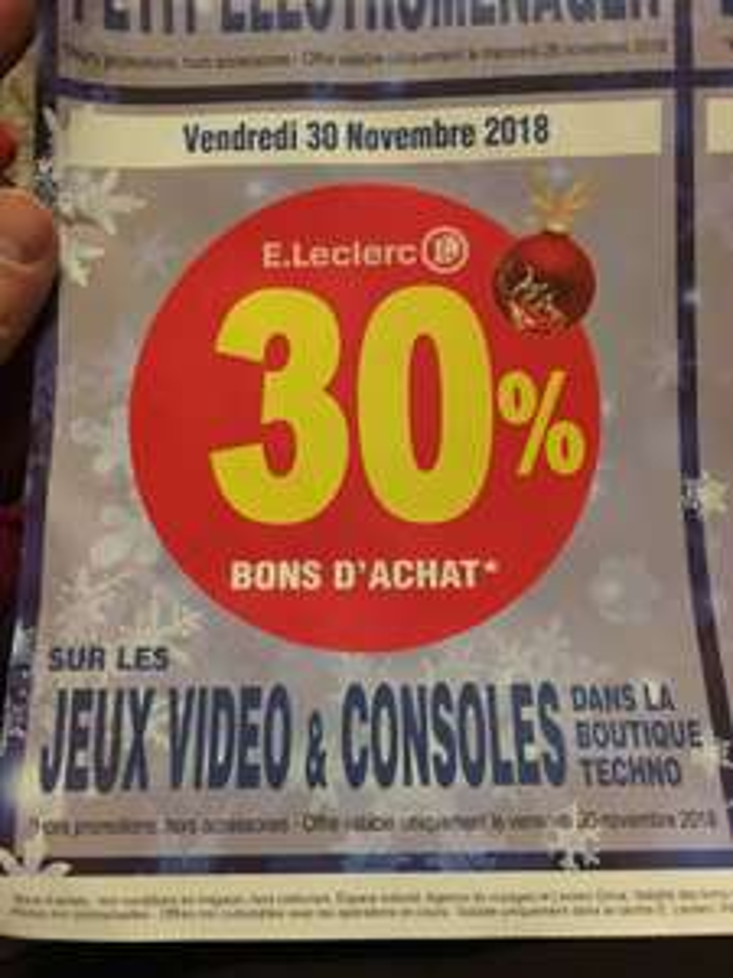 30% remboursés en bon d'achat sur le rayon Consoles & Jeux Vidéo - Vitry-sur-Seine (94)