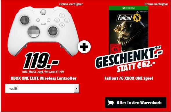 Manette sans fil Xbox One Elite  blanche ou noire) + Fallout 76 sur Xbox One  (Frontaliers Allemagne)