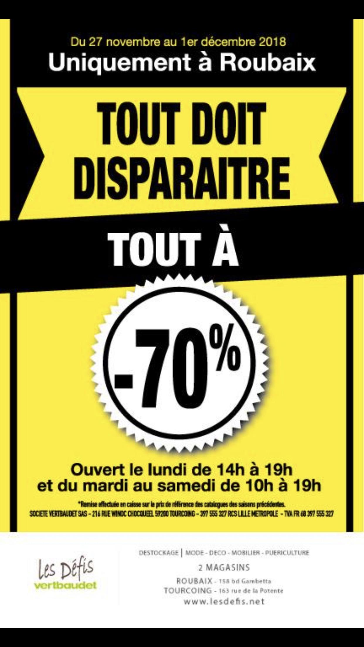 70% de réduction sur tout le magasin - Les Défis Vertbaudet Roubaix (59)