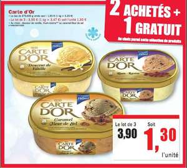 Lot de 3 bacs de crème glacée Carte d'Or (750 ml)