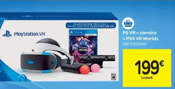 Casque de Réalité Virtuelle PlayStation VR V1 pour PS4 + Caméra + VR Worlds (Voucher) (Frontaliers Belgique)
