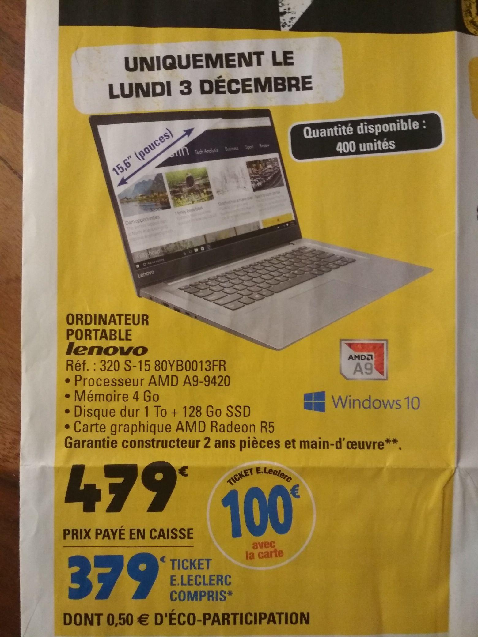 """PC portable 15.6"""" Lenovo 320 S-15 80YB0013FR - A9-9420, Radeon R5, 4 Go de RAM, 1 To + 128 Go en SSD (via 100€ en tickets E.Leclerc)"""