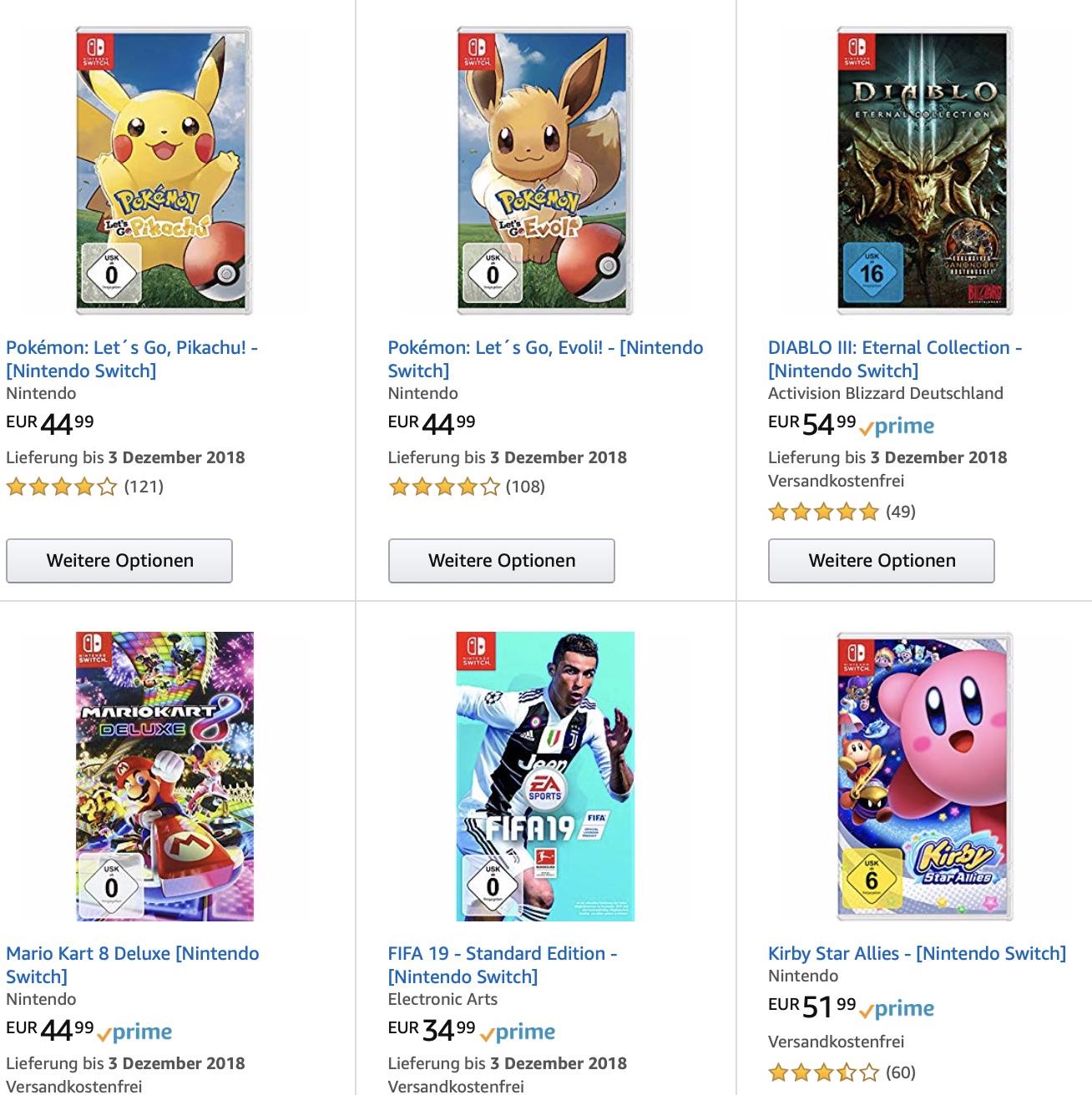 Lot de 3 jeux vidéo sur Switch au choix parmi une sélection de 12 jeux pour 100€