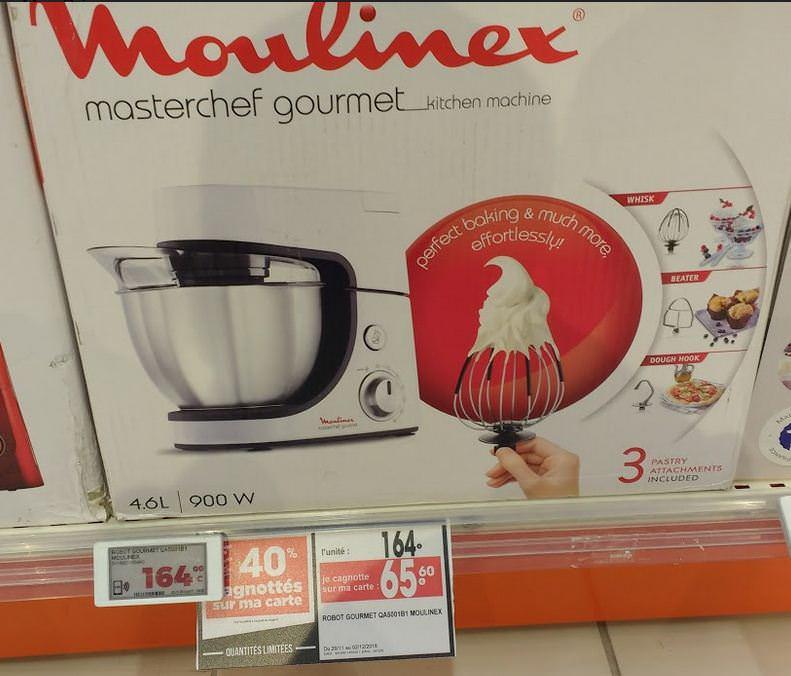 Robot patissier MOULINEX Masterchef Gourmet QA5001B1 (Via 65,60€ sur la carte fidelité) - Quimper (29)