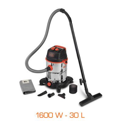 aspirateur eau poussi re black decker pro 1600w cuve inox 30l 7 accessoires prise. Black Bedroom Furniture Sets. Home Design Ideas