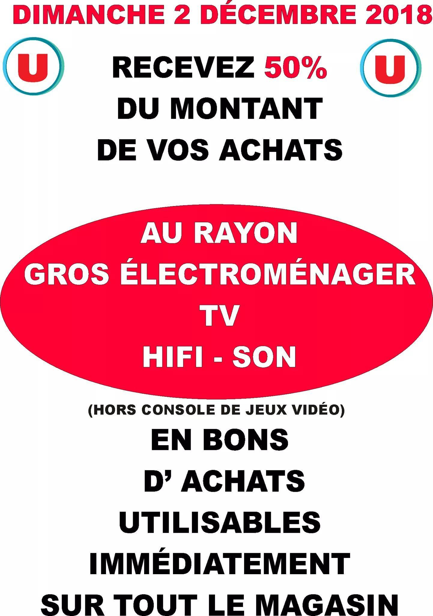 50% remboursés en bons d'achat sur les rayons Gros Électroménager, Hi-Fi Son et TV - Brie comte Robert (77)