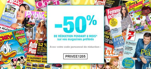 -50%  sur vos abonnements magazines pendant 8 mois