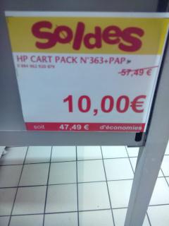 Cartouche d'encre HP photo value pack 363 + papier à photo