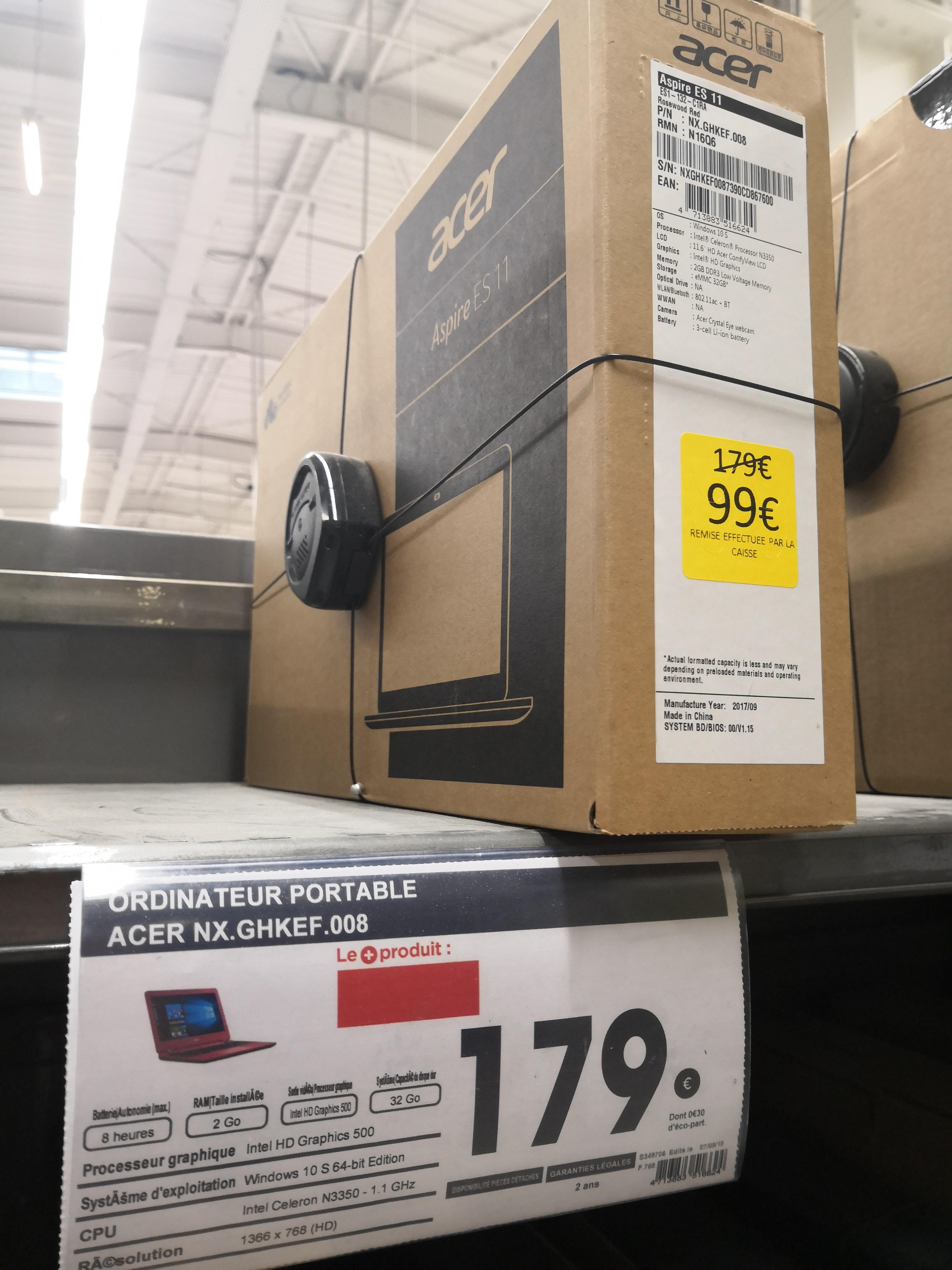 "PC Portable 11.6"" Acer Aspire  ES11 NX.GHKEF.008 - Celeron N3350, 4 Go de RAM, 32 Go eMMC, Windows 10S - Narbonne (11)"