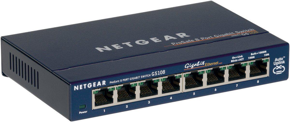 switch Netgear 8 ports GS108GE (gigabit boitier métal, Prosafe)