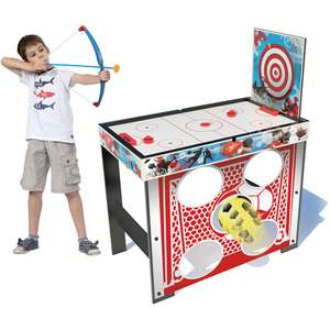 Table multi-activités 5-en-1 : Hockey, Tir à l'arc, Football, Ping-Pong et Tableau blanc