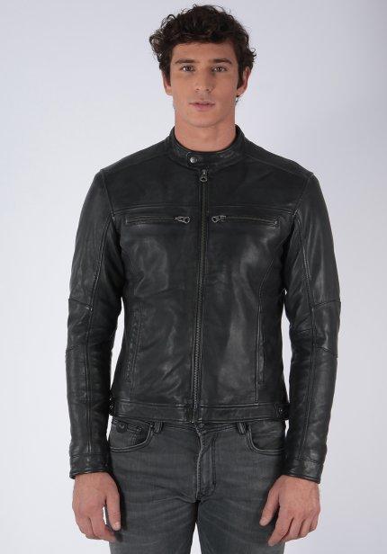 Veste zippée en cuir Kaporal Karel Black (du S au XXL)