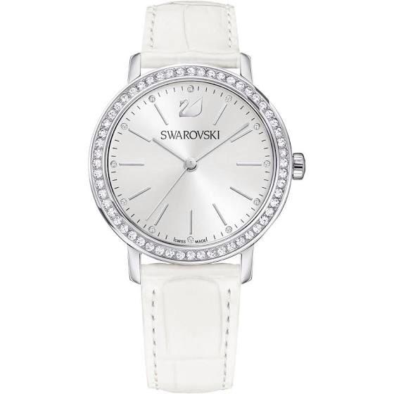 Montre Graceful Lady Swarovski - Bracelet en cuir, Blanc, Ton argenté