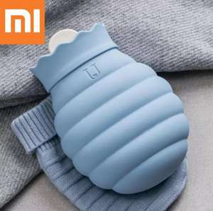Bouillotte silicone Xiaomi avec housse en tricot - 620 ml, Bleu ou rouge