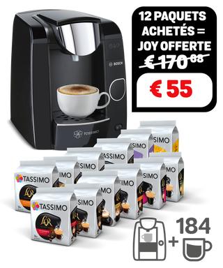 Cafetière à capsules Bosch Tassimo Joy + assortiment de 12 paquets de capsules de café Tassimo (différentes variétés)
