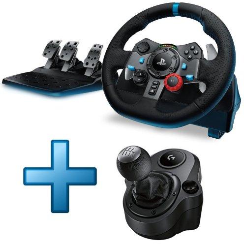 Pack Volant de course Logitech G29 + Pédalier + Levier de Vitesse Driving Force Shifter pour PC, PS3 et PS4