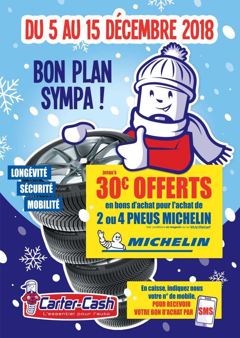 Jusqu'à 30€ offerts en bon d'achat pour l'achat de pneus Michelin - Carter-cash
