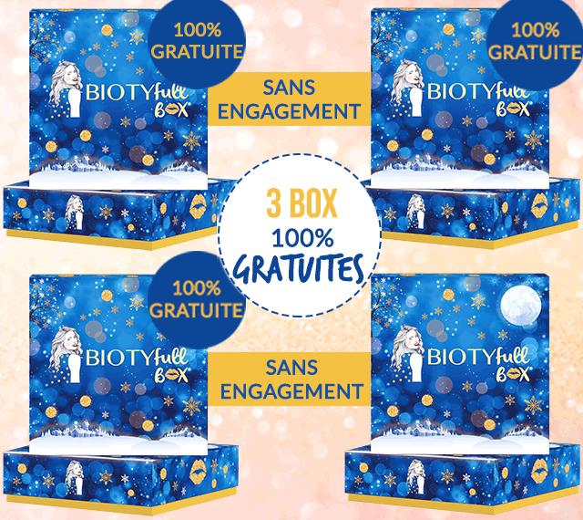 Lot de 4 boxes beauté de Noël Biotyfull (5 produits naturels pour le corps + 1 trousse de maquillage pailletée) - Biotyfull Box