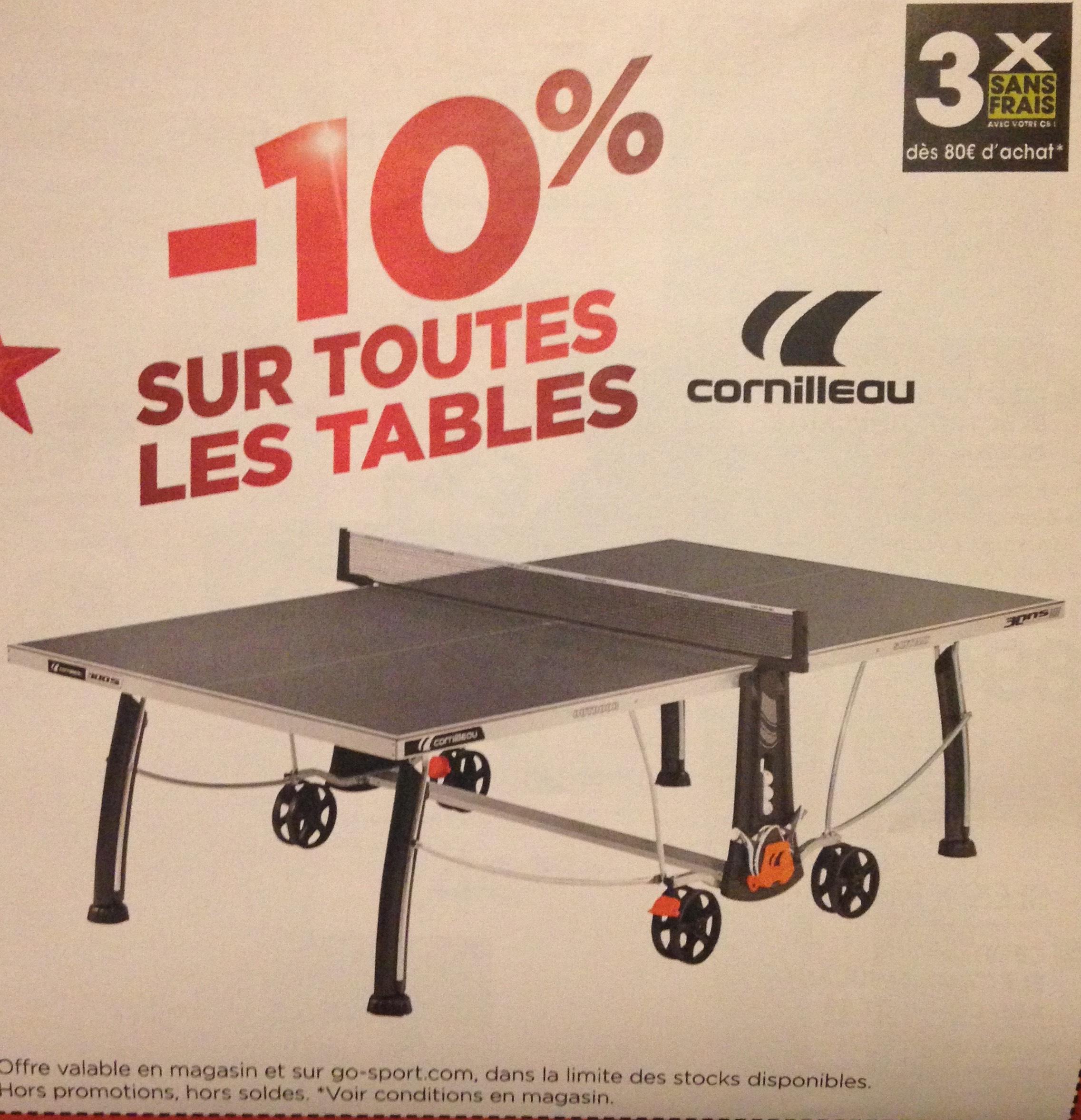 10% de réduction sur les tables de Ping-Pong Cornilleau