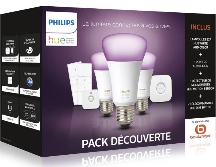 Pack 3 Ampoules connectées Philips E27 White & Colors + Pont Hue + Détecteur + 2 Variateurs + Google Home Mini