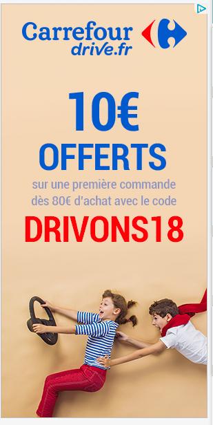 [Nouveaux clients] 10€ de réduction dès 80€ d'achat (Drive)