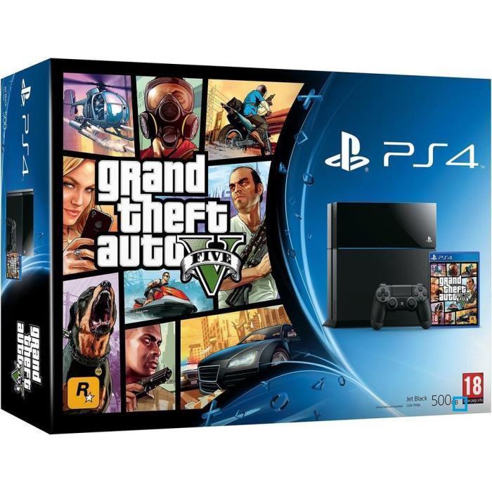 Console Sony PS4 500 Go noire + GTA V