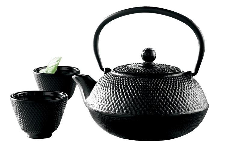 Service à thé en fonte avec intérieur émaillé + 2 gobelets