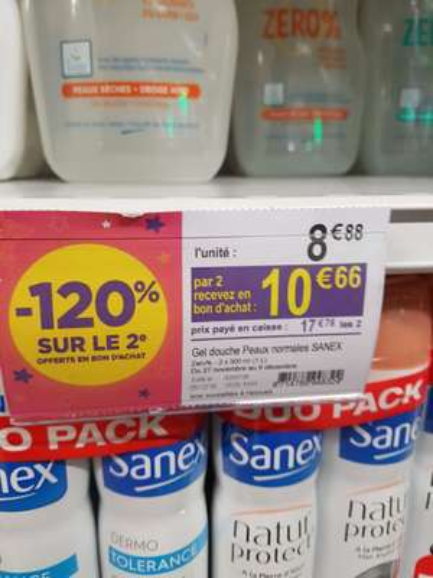 2 lots de 2x500ml Gel douche Sanex Zero% (Via 10,6€ en bon d'achat) - Chaville (92)