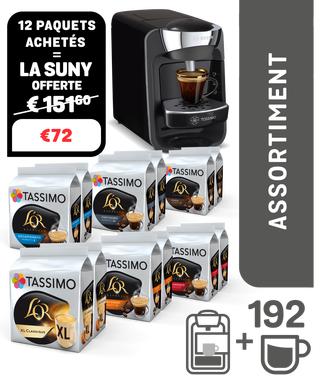 Machine à café Tassimo Vivy + 12 paquets de café Tassimo