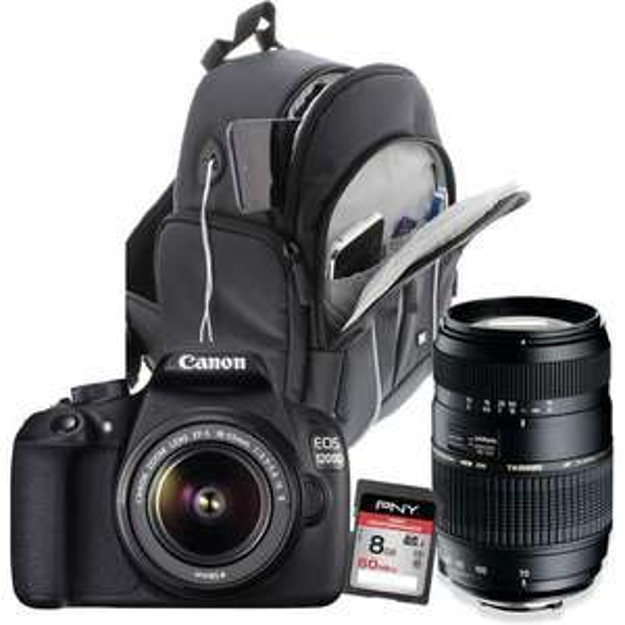 Reflex Canon 1200D + 2 objectifs (18-55 & 70-300) + Sac + Carte SD PNY 8 Go (avec ODR 30€)