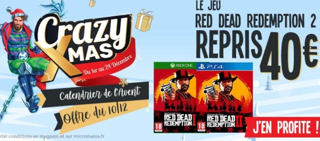 Reprise du Jeu Red Dead Redemption 2 à 40€ en magasin
