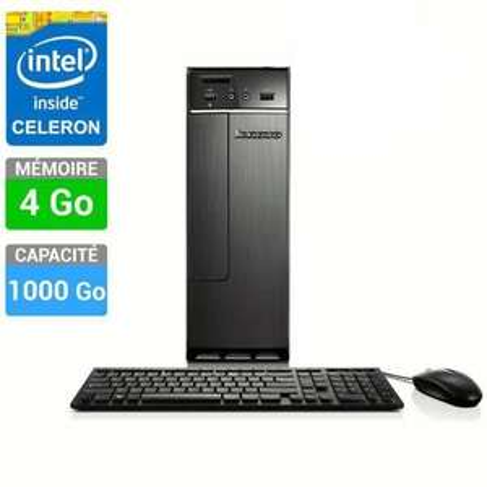 PC de Bureau Lenovo  H30-00 (intel celeron, 4 Go Ram, 1 To HDD)