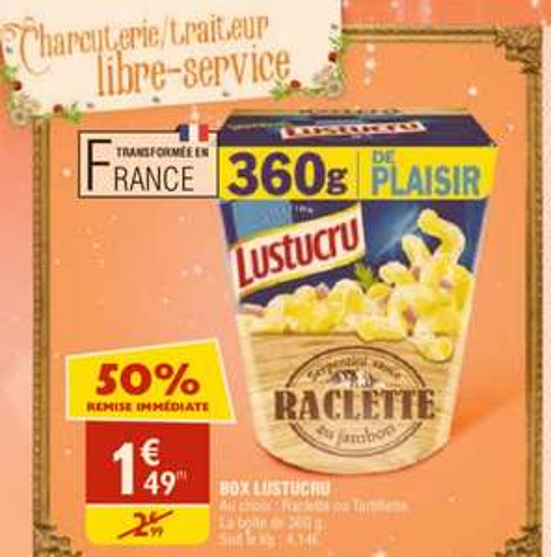 Box Lustucru Raclette ou Tartifflette 360g