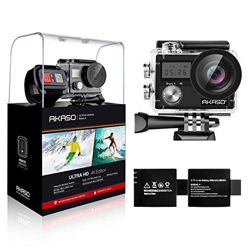 Caméra sportive Akaso - 4K UHD, 20 Mpix, avec 2 batteries 1050 mAh et accessoires (vendeur tiers)
