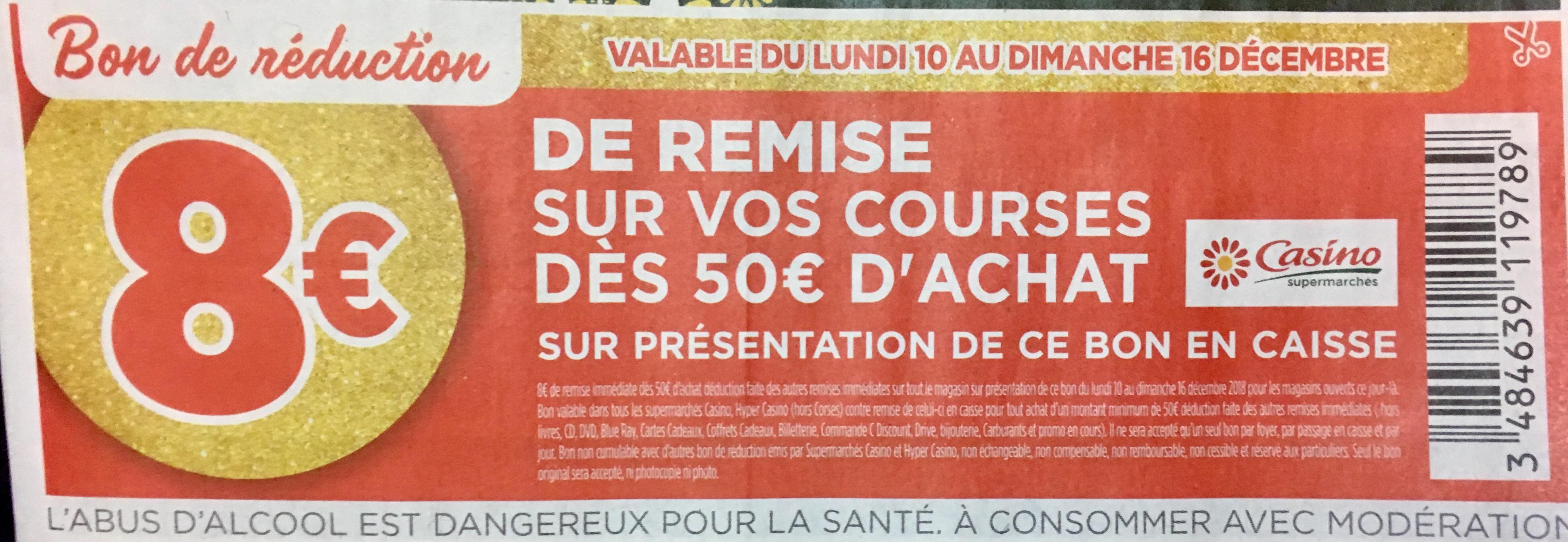 8€ ou 10€ de réduction dès 50€ d'achat / 15€ dès 80€ d'achat / 6€ dès 24 et 2€ dès 10
