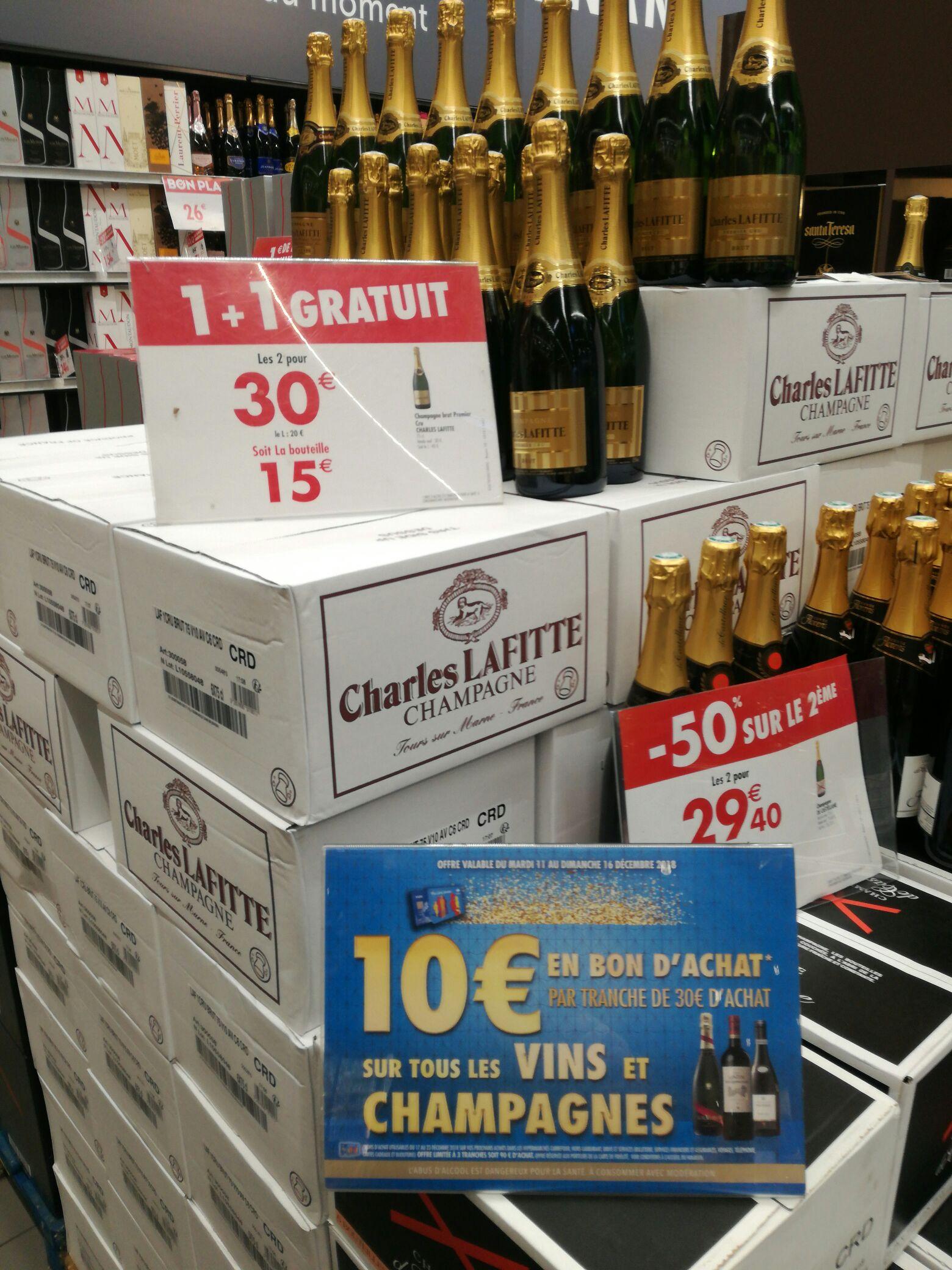 Lot de 2 bouteilles de Champagne premier cru Charles Lafitte (Via 20€ en bon d'achat avec la carte fidélité) - 70cl