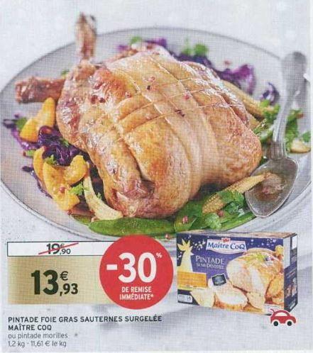 Pintade foie gras Sauternes surgelée Maître Coq - 1.2 kg (via 2.79€ sur FidMarques)