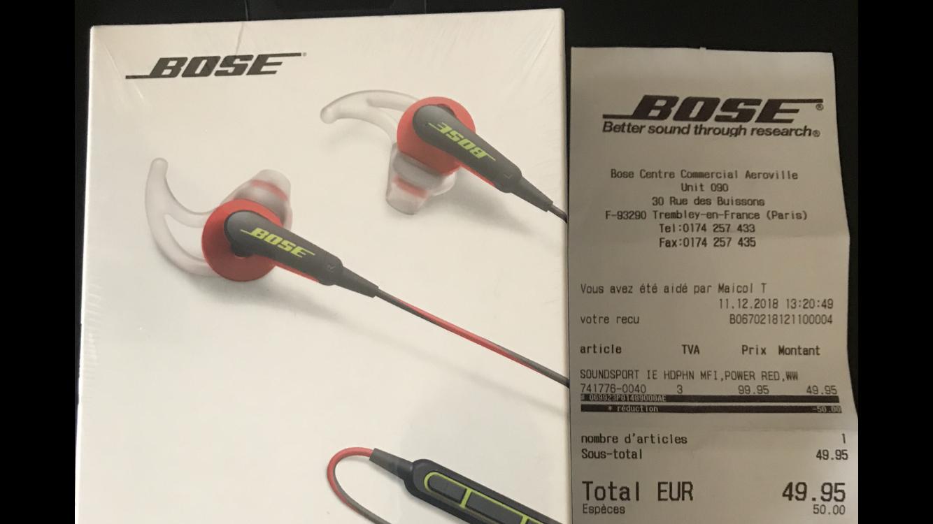 Écouteurs Bose SoundSport - Apple ou Android - Aeroville (95)