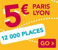 Aller simple Paris - Lyon (et inversement) / 12000 billets