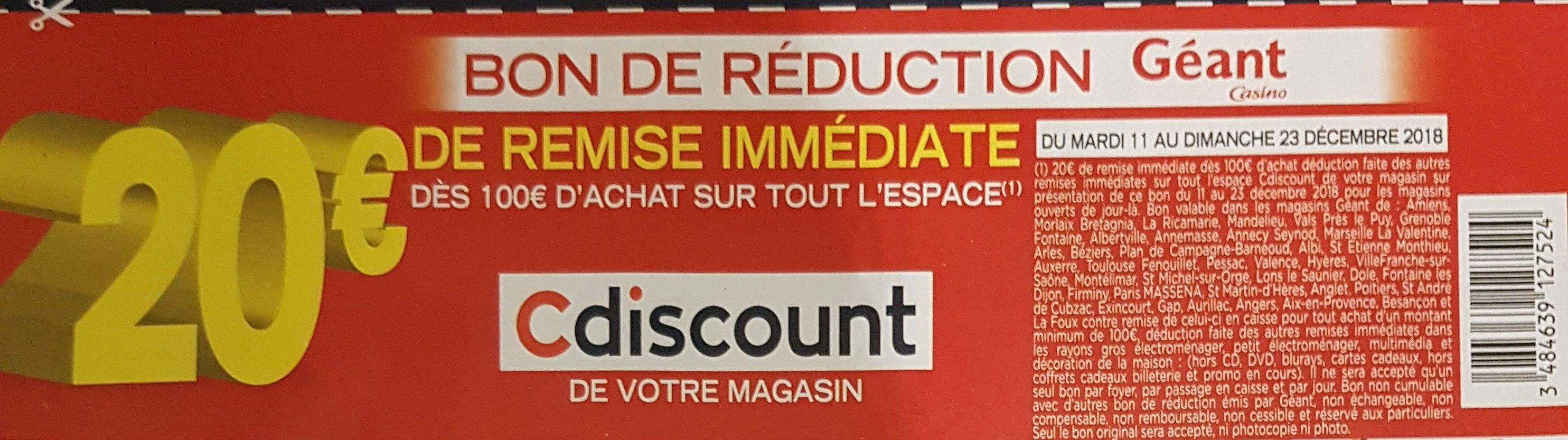 20€ de réduction dès 100€ d'achat sur l'espace Cdiscount