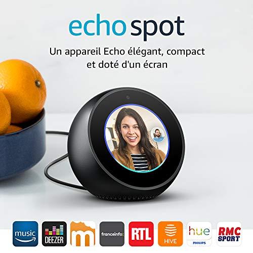 Enceinte Amazon Echo Spot (avec l'assistant vocal Alexa) - Noir ou Blanc