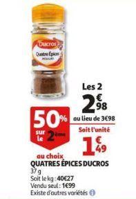2 flacons d'épices DUCROS (via BDR + Quoty) - Différentes variétés