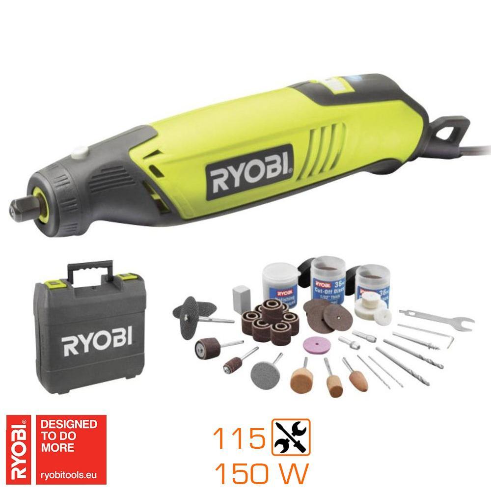 Outil multifonctions Ryobi EHT150V 150W avec 115 accessoires et malette