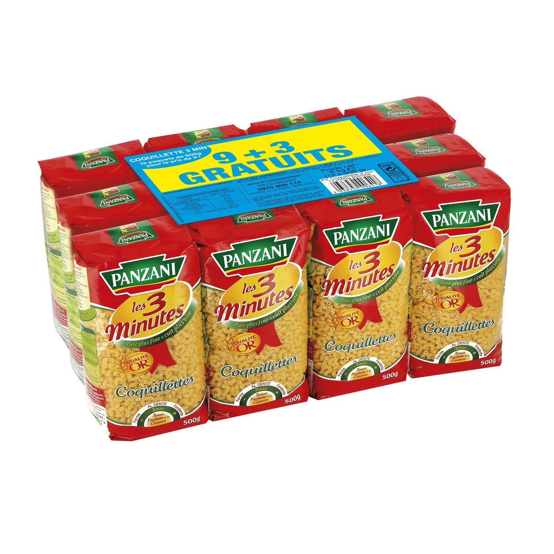 Pâtes coquillettes cuisson rapide Panzani - 12 paquets de 500g (via 7.43€ sur la carte fidélité